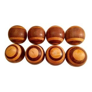Vintage English Wooden Gaming Balls - Set of 8