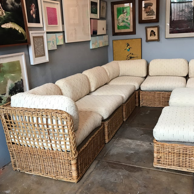 Vintage Rattan Sectional Sofa Set - Image 4 of 11