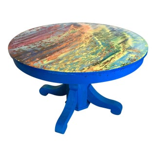 Abstract Painted Wood Coffee Table