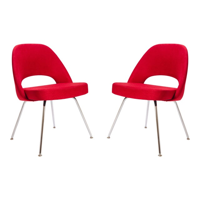 Saarinen for Knoll Executive Armless Chairs in Original Knoll Fire-Red, Pair - Image 1 of 9