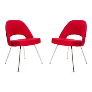 Saarinen for Knoll Executive Armless Chairs in Original Knoll Fire-Red, Pair