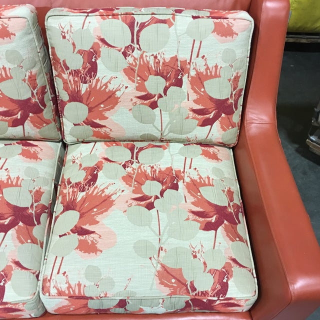 Leathercraft Orange Floral Sofa - Image 5 of 6