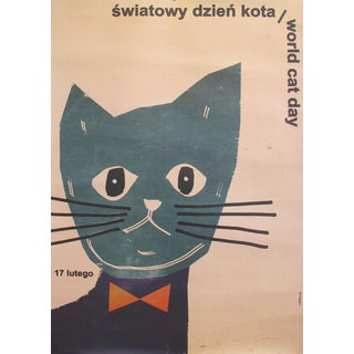 """2014 Polish Poster, """"Światowy Dzień Kota"""" World Cat Day"""