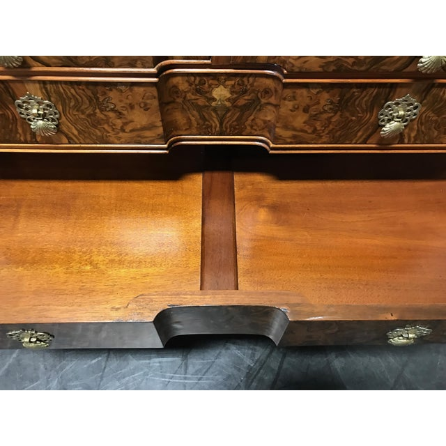 Early 20th Century Burl Walnut Block Front Bachelor Chest of Drawers - Image 11 of 11
