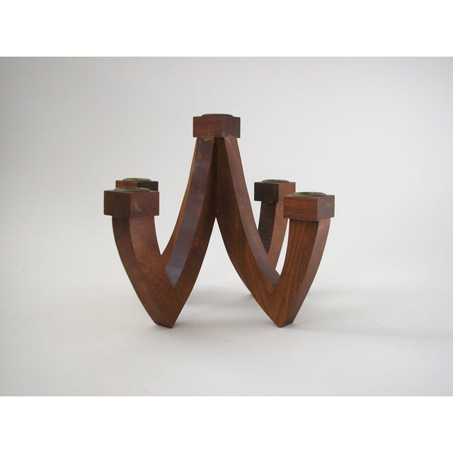 Mid-Century Wood Candle Holder - Image 3 of 9