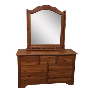Seven Drawer Pine Dresser With Mirror