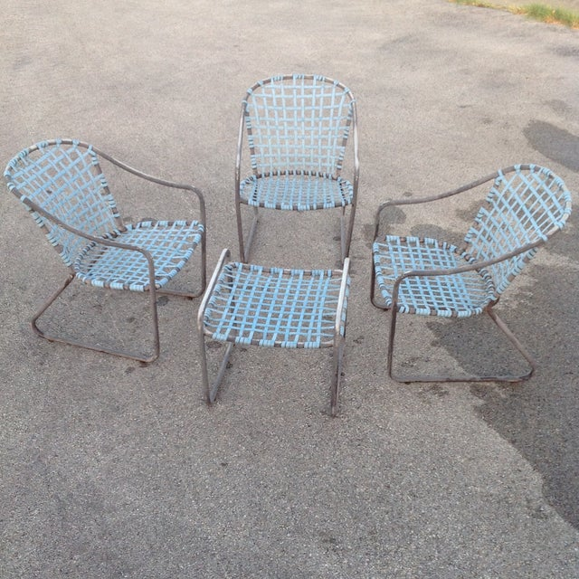 Brown Jordan Vintage Signed Chairs and Ottoman - Image 3 of 7
