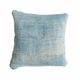 Light Blue Vintage Indigo Square Pillow
