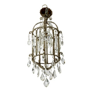 French Tiered Crystal and Beaded Lantern Style Chandelier, C.1910