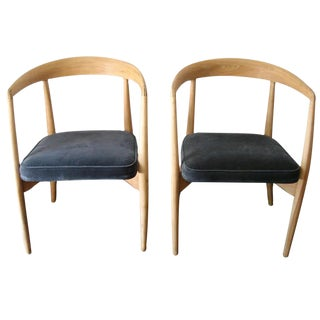 Pair of Natural Stripped Danish Armchairs