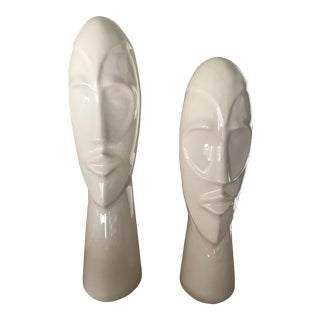 White Ceramic Wingard Totem Busts – A Pair