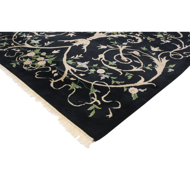 "Vintage Indian Black Field and Modern Aubusson Style Rug - 6' x 8'10"" - Image 2 of 4"