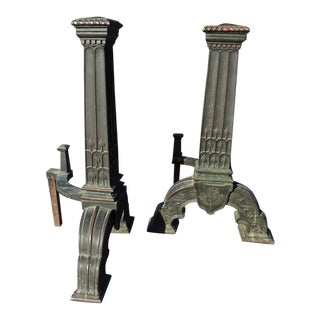 The Most Stately Arts And Crafts Bronze Andirons