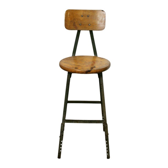 Image of Industrial Wood & Steel Stool