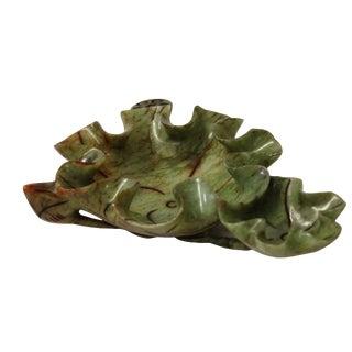 Chinese Oriental Jade Color Stone Carved Lotus Leaf Bowl Shape Display