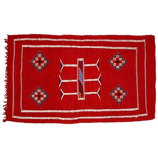 Red Moroccan Cactus Silk Rug - 3'4'' X 1'10''
