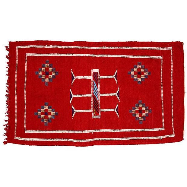 Image of Red Moroccan Cactus Silk Rug - 3'4'' X 1'10''