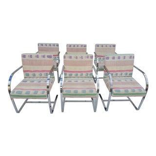 Set Of Six Mid-Century Modern Flat Bar Chrome Brno Chairs
