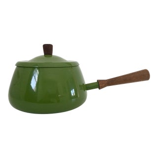 Avocado Green Enamel Lidded Pot W/ Wood Handle Made in Japan
