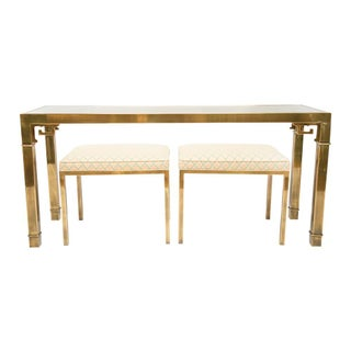 Mastercraft Brass Console With Matching Stools