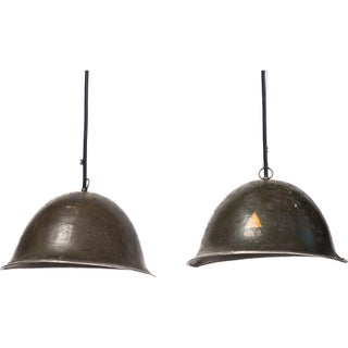 French Army Helmet Pendant Lamps - A Pair