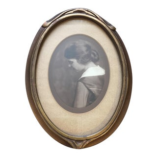 Arts and Crafts Period Sepia Portrait of a Woman in Wood and Gilt Picture Frame