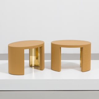 The Oval Crackle Side Tables by Talisman Bespoke (Ochre and Gold)