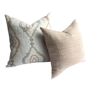 Pair of Woven Blush and Ivory Designer Pillow Covers
