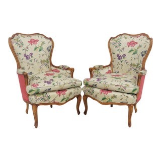 Louis XV French Style Bergere Chairs - a Pair