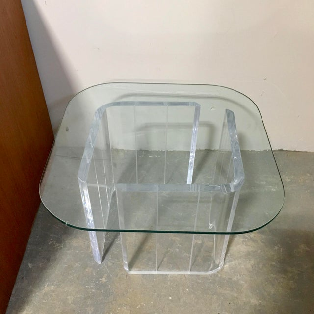 Lucite & Glass Side Table - Image 2 of 4