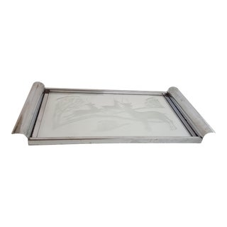 Mid-Century Chrome and Etched Glass Tray