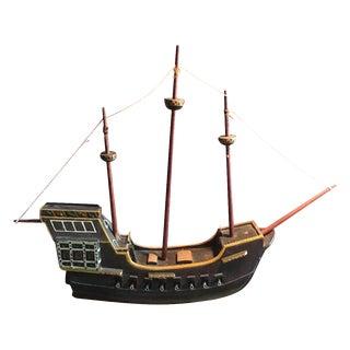 1940s Handmade Folk Model of Spanish Ship