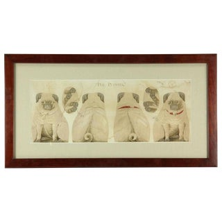 "Antique ""Pug Puppies"" Printed Pillow Pattern"