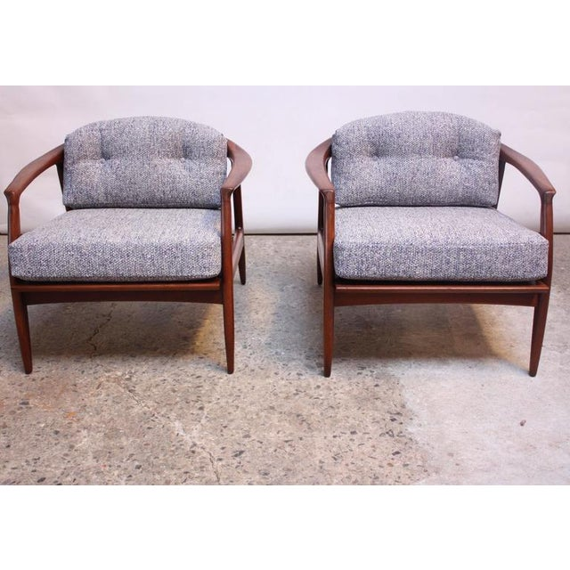 Pair of Staved Walnut Lounge Chairs by Milo Baughman - Image 5 of 11
