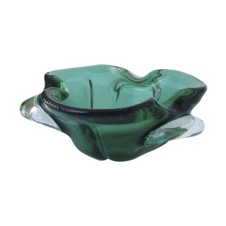 Seguso Murano Vintage Green & Gold Dust Lobed Bowl