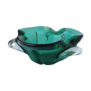 Seguso Murano Vintage Green & Gold Dust Lobed Bowl