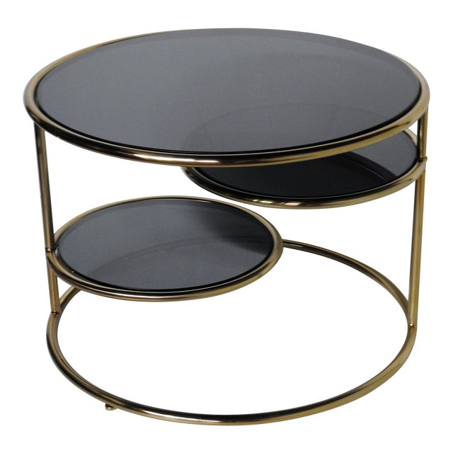 Modern Design Coffee Table With Black Glass Inserts Chairish