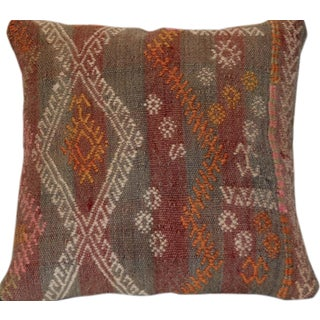 Red and Gray Vintage Handmade Wool Boho Pillow