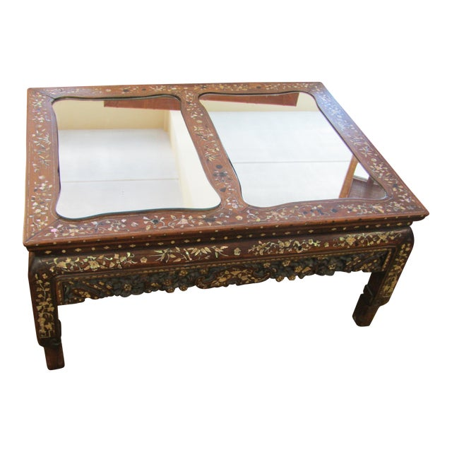 Carved Wood & Mother of Pearl Mirrored Coffee Table - Image 1 of 6