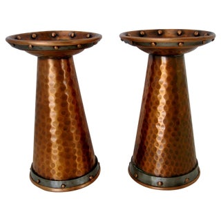 Hammered Copper Candlesticks - Pair