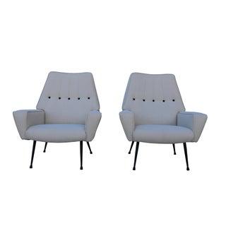 Mid-Century Black & White Italian Armchairs - A Pair