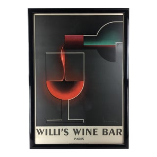 1984 a.a. Cassandre Willi's Wine Bar Lithograph Art Deco Poster First Edition