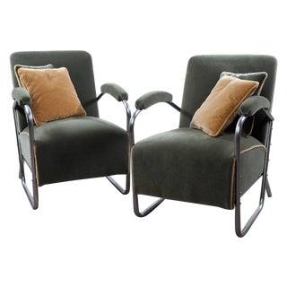 """Gilbert Rohde """"Chrome & Mohair"""" Chairs - Pair"""