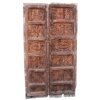 Rustic Peshwari Carved Wood Door Panel