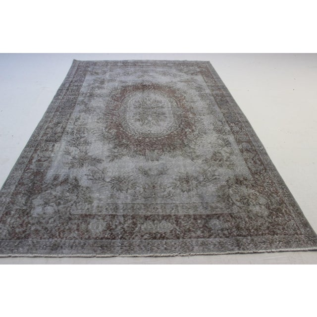 "Gray Turkish Overdyed Rug - 5'7"" X 9'5"" - Image 6 of 9"