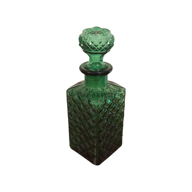 Green Square Glass Decanter - Image 1 of 6