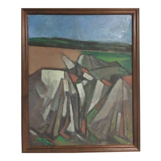 1960s G. Ralph Smith Vintage Abstract Cubist Landscape Oil Painting