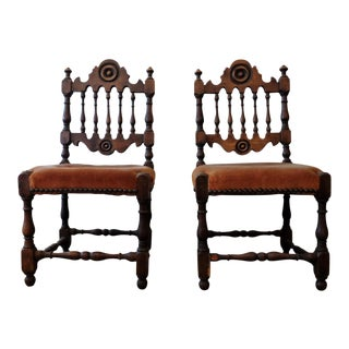 Antique Children's Chairs, Upholstered in Vintage Fabric - a Pair