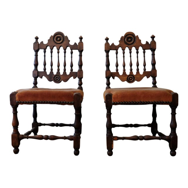Antique Children's Chairs, Upholstered in Vintage Fabric - a Pair - Image 1  ... - Antique Children's Chairs, Upholstered In Vintage Fabric - A Pair