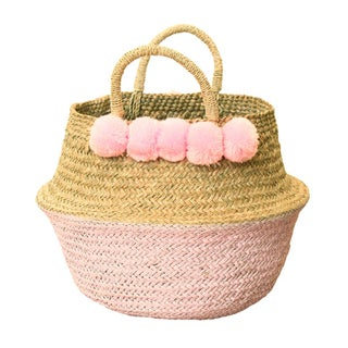 Double Woven Sea Grass Pastel Pink Pom Poms Belly Basket